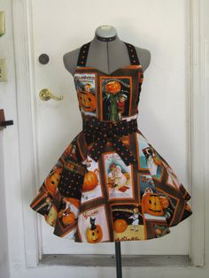 The Pumpkin Patch Halloween Apron  with a hint by ApronsByVittoria, $35.00