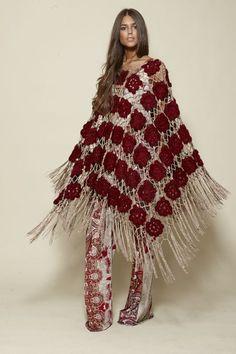 Items similar to Long fringed poncho. Burgundy crochet wrap for women on Etsy Poncho Crochet, Knitted Cape, Crochet Shawls And Wraps, Crochet Designs, Crochet Patterns, Cardigan Noir, Look Boho, Knit Fashion, Crochet Accessories