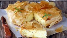 Greek cheese pie made with a variety of cheeses filled between filo pastry sheets. A crisp outside with a soft inside. Greek Cheese Pie, Cheese Pies, Best Greek Food, Queso Feta, Homemade Cheese, Healthy Dishes, Vegetarian Cheese, Greek Recipes, Casserole Dishes