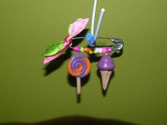 Polymer clay, safety pin, ice cream, candy, fimo, imperdible