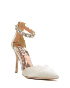 Flash Ankle Strap Pointed Toe High Heel - Style # : FLASH - IVORY - $225.00 - Flash by Badgley Mischka. This is the perfect pointed to ankle strap heel. The ankle strap is embellished with a stunning layered crystal design. Flash features a zipper at the heel. - Heel height: 3 3/4 inches. - Sale price is only applicable to online purchases and not valid in Badgley Mischka stores. Items purchased on BadgleyMischka.com cannot be returned to Badgley Mischka flagship stores or any other retailer…