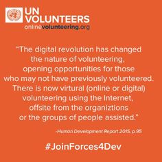 Organizations registered with onlinevolunteering.org can access a global pool of 500k skilled volunteers. #JoinForces4Dev