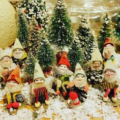 The last of the little trees and batch of pinecone elves saying goodbye. Christmas Village Display, Christmas Gnome, Christmas Scenes, Christmas Villages, Christmas Past, Vintage Christmas Ornaments, Country Christmas, Christmas Traditions, White Christmas