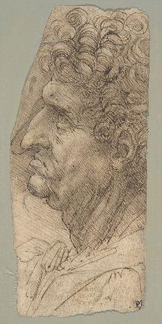 """Head of a Man in Profile Facing to the Left"" -- 1490-92 -- Leonardo da Vinci -- Italian, Amboise -- Pen & brown ink, over soft black chalk -- The Metropolitan Museum of Art"