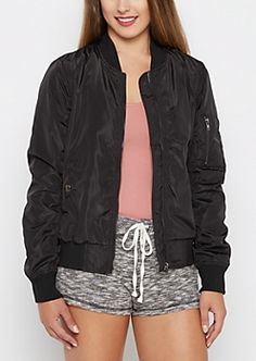 Black Utility Bomber Jacket