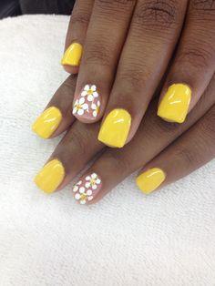 Make an original manicure for Valentine's Day - My Nails Nails Yellow, Red Nails, Spring Nails, Summer Nails, Nail Art Designs, Nail Art Halloween, Daisy Nails, Vacation Nails, Nagel Gel