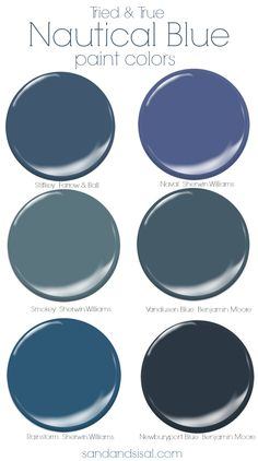 nautical decor Explore a fewtried and true nautical blue paint colorsfor walls and cabinetry. Click the pic to see beautiful examples of the coastal colors in rooms. Blue Paint Colors, Wall Paint Colors, Interior Paint Colors, Nautical Paint Colors, Paint Walls, Colours, Paint Doors, Nautical Painting, Bright Colors