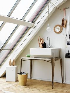 This is a really neat sink solution. Also love the wall of windows. ES