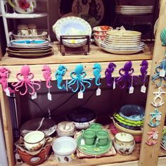 We now have iron octopus hooks available in pink, blue, and purple! #theclutterhouse #homedecor #walldecor #shoplocal
