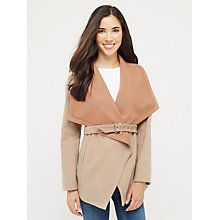 Buy Oasis Lucy Drape Coat, Mid Neutral Online at johnlewis.com