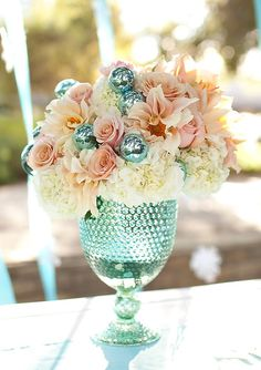 Vintage blue glass with café au lait dahlias, hydrangea and baubles!