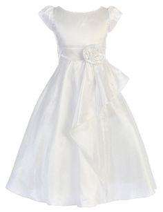 Cap Sleeved Cascading Taffeta First Communion Dress by Sweet Kids