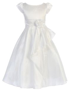 Cap Sleeved Cascading Taffeta First Communion Dress by Sweet Kids