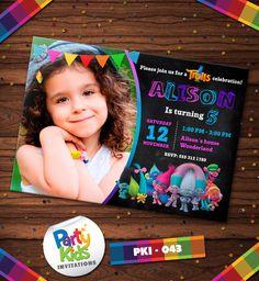 Trolls Birthday, Trolls Invitation, Trolls Customized  Chalkboard Style Party Invite PKI-043