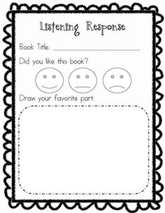 Response Sheet Have your early elementary children respond to what they listen to in the listening center with this sheet.Have your early elementary children respond to what they listen to in the listening center with this sheet. Kindergarten Listening Center, Kindergarten Language Arts, Kindergarten Writing, Kindergarten Literacy, Teaching Reading, Guided Reading, Listening Centers, Listening Station, Kindergarten Classroom Organization