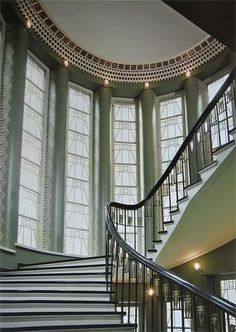 I don't know anything about this grand, curving, Art Deco inspired stairway except it's in Finland.