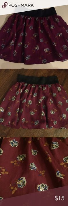 Sequenced floral skirt Skirt ,Love h81 ,great condition, super cute , women's size: small, Bundle skirts or any shirt to save $ LOVE H81 Skirts