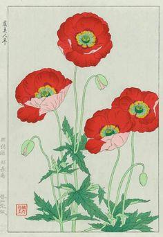 Nishimura Hodo 'Poppies' 1954