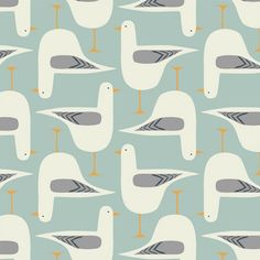 "Textile pattern ""Gwylan"" (Welsh for seagull) by Jenny Lee Katz"