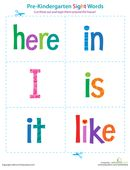 Help your pre-kindergartener get a head start on reading with these sight word flash cards that you can tape around the house. Includes words from here to like.