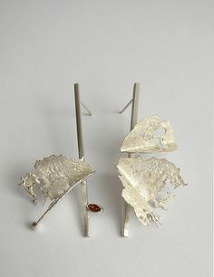earrings - 925 silver, garnet