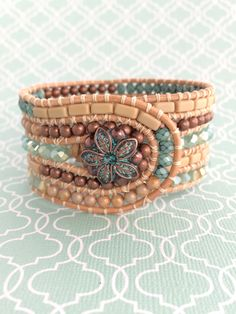 5 Row Leather Cuff Bracelet by suzanneshores on Etsy