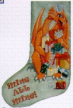 Xs And Ohs Mine All Mine (Stocking) - Cross Stitch Pattern. One very enthusiastic dragon seems to be hogging all of the presents on Christmas morning -