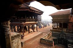 "The temple-filled Durbar Square (""Palace Square"") in Bhaktapur, one of three ancient Nepalese royal cities, covers three and a half acres. Today the square is as much a social hub as a religious gathering place."