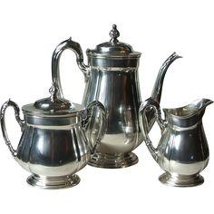 Reed and Barton 4070 Sir Lancelot Silverplate Hollowware 3 Piece Coffee Service