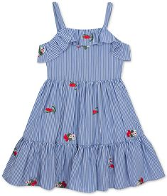 Floral embroidery adds extra sweetness to this darling striped dress from Rare Editions, featuring ruffle trim at the bodice and hem. Baby Girl Frocks, Frocks For Girls, Toddler Girl Dresses, Little Girl Dresses, Toddler Girls, Girls 4, Girls Frock Design, Baby Dress Design, Baby Girl Dress Patterns