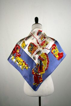 1960s New Mexico Souvenir Acetate Square Scarf Western Iconography by YaYaRetro on Etsy