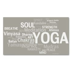 YOGA Instructor Business Card - Yoga Words. I love this design! It is available for customization or ready to buy as is. All you need is to add your business info to this template then place the order. It will ship within 24 hours. Just click the image to make your own!