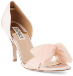 badgley Mishka blush pink wedding shoes heels bow