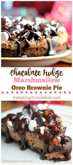 Chocolate Fudge Marshmallow Oreo Brownie Pie  via @https://www.pinterest.com/BaknChocolaTess/