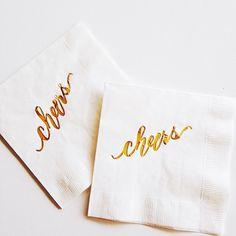 Gold Foiled Cheers {white} Napkins by LHCalligraphy on Etsy https://www.etsy.com/listing/208070901/gold-foiled-cheers-white-napkins