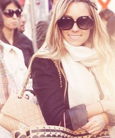 scarf, shades, and chanel.