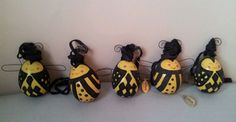 Katherine's collection set of 5 bumble bee eggs spring decor ornaments