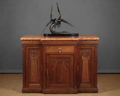 Art Deco Marble Top Sideboard. - Decorative Collective