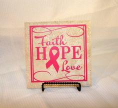 "Faith Hope Love Breast Cancer Support Ribbon 6"" Tile on Etsy, $12.50"