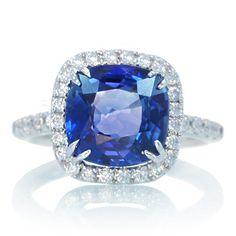 18 Karat White Gold AIGS Certified Cushion Cut Ceylon Sapphire Diamond Halo Engagement Wedding Anniversary Ring. $8,800.00, via Etsy.