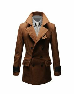 Tom's Ware Mens Premium Wool Blend Pea Coat TWNFD075J1-BROWN-$69.99