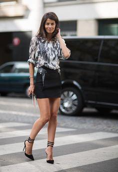 Barbara Martelo - printed blouse & black mini