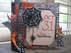 This fun little Halloween pre made paper bag photo albumbook measures 6 x 6,  each page is 6 x 5. Album holds 11 pictures, more if you crop them, 12