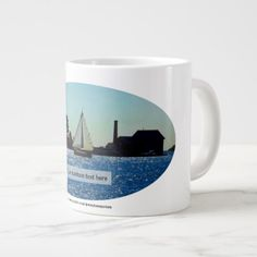 Gloucester MA  A Sailboat On The Atlantic Ocean Giant Coffee Mug - blue gifts style giftidea diy cyo