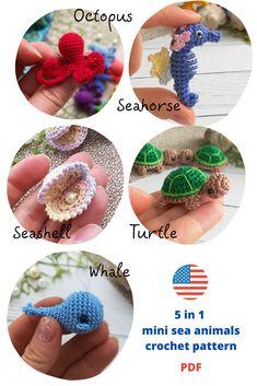 5 in 1 Amigurum Amigurumi Crochet Pattern Tiny Sea Animals - turtle, whale, seashell pearl, seahorse and octopus Handmade Ideas, Etsy Handmade, Handmade Crafts, Crochet Toys Patterns, Amigurumi Patterns, Diy Step By Step, Amigurumi Toys, Stuffed Animal Patterns, Educational Toys