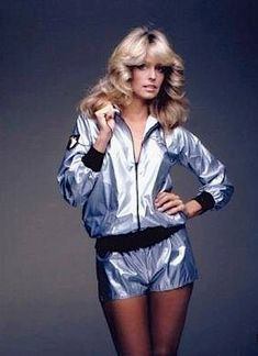 Every girl had a satin jacket because of farrah. Mine was pink, with rainbow-striped cuffs and a huge roller skate on the back. I know. Pretty swank.