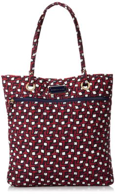 Tommy Hilfiger Printed North South Tote, Red/Navy Tommy T Print, One Size: Handbags: Amazon.com