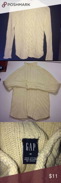 Gap Cream Color Cable Knit Sweater Women's Cream Color, Size Medium Gap brand Cable Knit Sweater in good condition.  Mock Turtle Neck.  No rips, stains or tears. Non smoking home.  Not happy with my price? Please make me an offer! GAP Sweaters Cowl & Turtlenecks