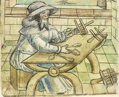 Mendel Hausbuch, f. 166v, c. 1545: Jacob Schpensetzer. Showing an empty, half-finished and finished teasel cross. Source:  http://www.nuernberger-hausbuecher.de/75-Amb-2-317-166-v/data