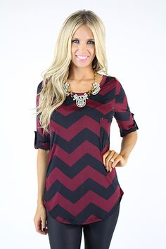 Lime Lush Boutique - Wine and Black Chevron Print Slinky Jersey 3/4 Sleeve Top, $42.99 (http://www.limelush.com/wine-and-black-chevron-print-slinky-jersey-3-4-sleeve-top/)